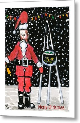 Sidewalk Santa.card Metal Print