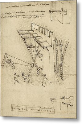 Siege Machine In Defense Of Fortification With Details Of Machine From Atlantic Codex Metal Print by Leonardo Da Vinci