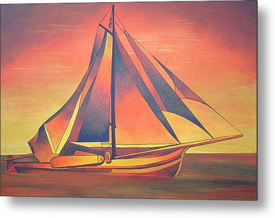 Metal Print featuring the painting Sienna Sails At Sunset by Tracey Harrington-Simpson