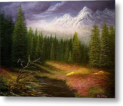 Metal Print featuring the painting Sierra Spring Storm by Loxi Sibley