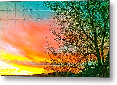 Sierra Sunset Cubed Metal Print by Mayhem Mediums