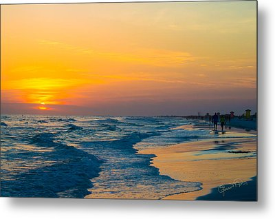 Siesta Key Sunset Walk Metal Print
