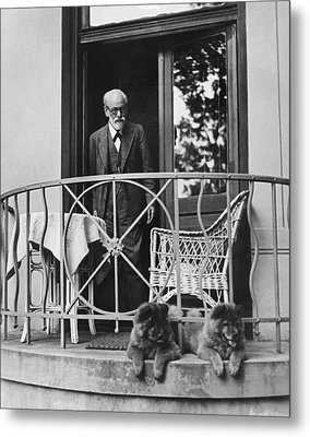 Sigmund Freud With His Chows Metal Print