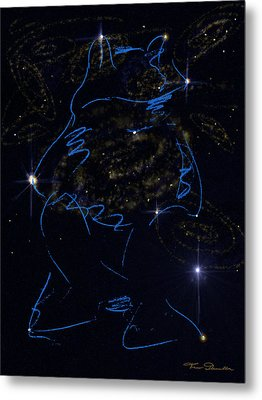 Sign Of The Zodiac Frog Blue Metal Print