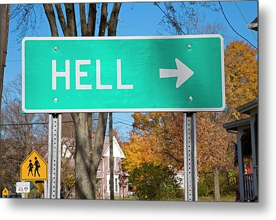 Sign To Hell Metal Print