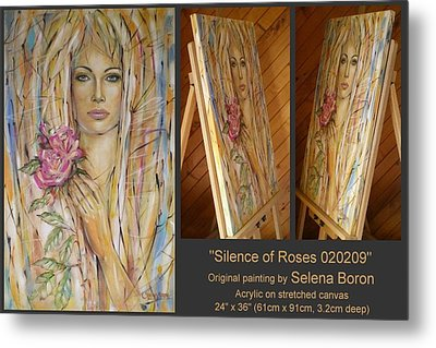 Metal Print featuring the painting Silence Of Roses 020209 by Selena Boron