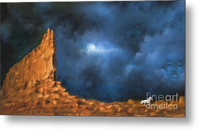 Metal Print featuring the painting Silence Of The Night by S G