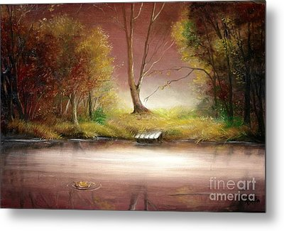 Metal Print featuring the painting Silence by Sorin Apostolescu