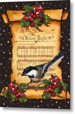 Silent Night Christmas Greeting Card With Bird Metal Print