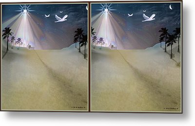 Silent Night - Gently Cross Your Eyes And Focus On The Middle Image Metal Print by Brian Wallace