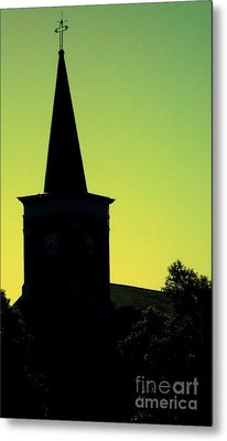 Silhouette Church Metal Print by JoNeL Art
