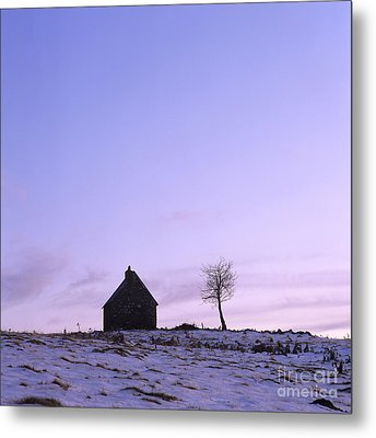 Silhouette Of A Farm And A Tree. Cezallier. Auvergne. France Metal Print by Bernard Jaubert