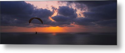 Silhouette Of A Person Paragliding Metal Print