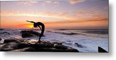Silhouette Of A Woman Practicing Yoga Metal Print by Panoramic Images