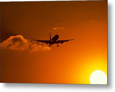 Silhouette Of Airliner In Golden Sunset Metal Print by Panoramic Images