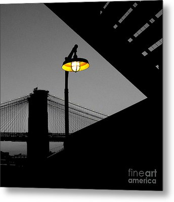 Silhouette Of Brooklyn Bridge New York City Metal Print by Sabine Jacobs