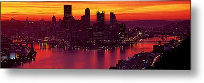 Silhouette Of Buildings At Dawn, Three Metal Print by Panoramic Images