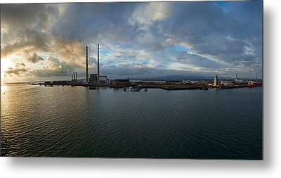Silhouette Of Chimneys Of The Poolbeg Metal Print by Panoramic Images