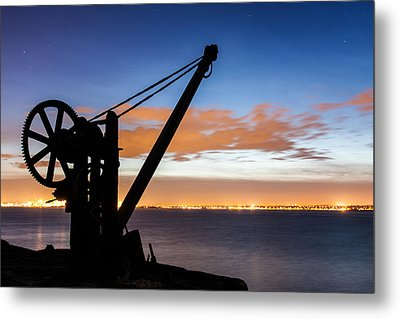 Silhouette Of Davit Metal Print by Semmick Photo