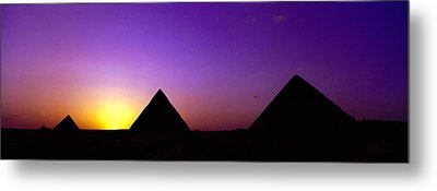 Silhouette Of Pyramids At Dusk, Giza Metal Print by Panoramic Images