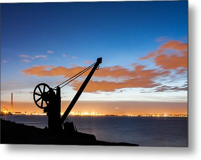 Silhouette Of The Davit In Dublin Port Metal Print by Semmick Photo