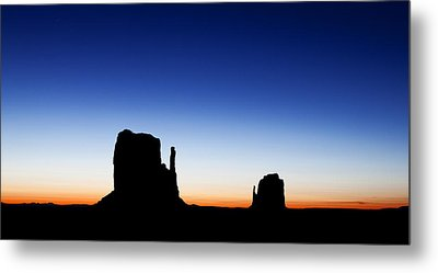 Silhouette Of The Mitten Buttes In Monument Valley  Metal Print by Susan Schmitz