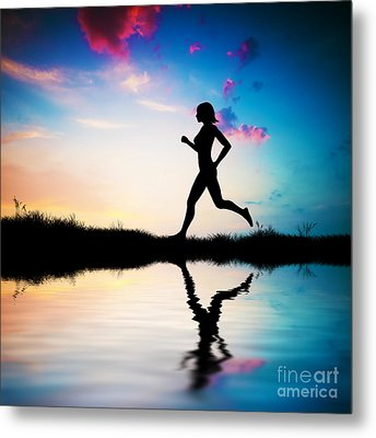 Silhouette Of Woman Running At Sunset Metal Print