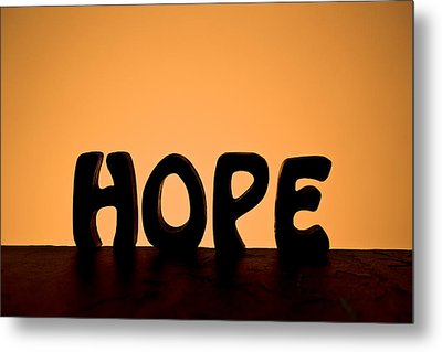 Silhouette Single Word Hope Metal Print by Donald  Erickson