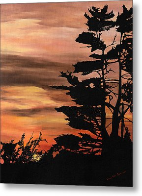 Metal Print featuring the painting Silhouette Sunset by Mary Ellen Anderson