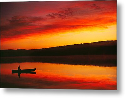 Silhouetted Canoe On Lake Metal Print by Panoramic Images