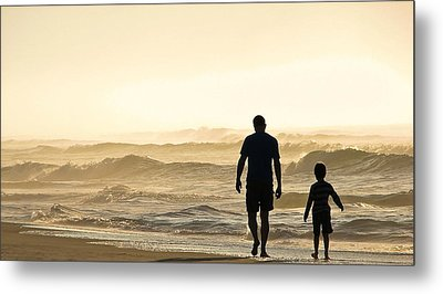 Silhouetted Father And Son Walk Beach  Metal Print