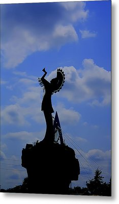 Silhouetted Keeper Of The Plains Metal Print