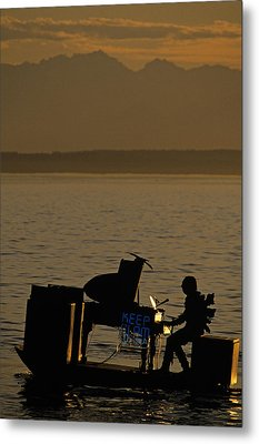 Silhouetted Sea Monster Playing Piano.tif Metal Print by Jim Corwin