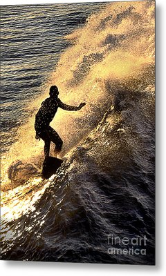 Silhouetted Surfer Metal Print