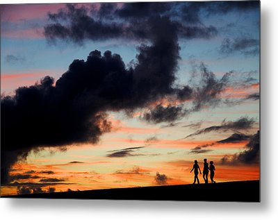 Silhouettes Of Three Girls Walking In The Sunset Metal Print by Fabrizio Troiani