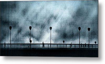 Silhouettes Sur La Passerelle. Blue. Metal Print by Sol Marrades