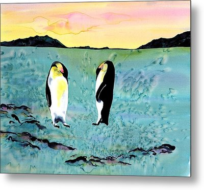 Silk Penguins Metal Print by Carolyn Doe