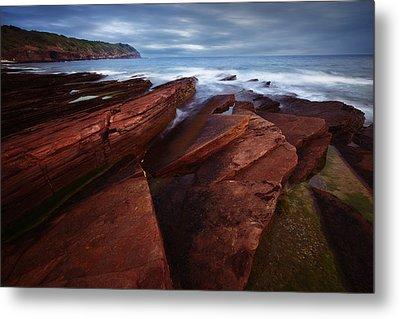 Silky Wave And Ancient Rock 1 Metal Print by Afrison Ma