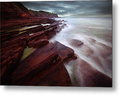 Silky Wave And Ancient Rock 3 Metal Print by Afrison Ma