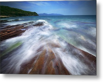 Metal Print featuring the photograph Silky Wave And Ancient Rock 5 by Afrison Ma