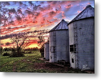 Silo Sunset Metal Print