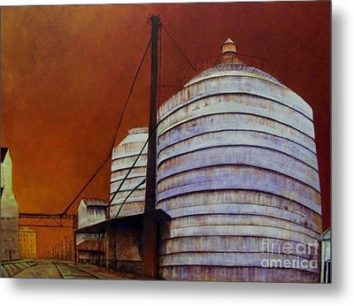 Silos With Sienna Sky Metal Print