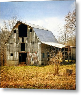 Silver Barn Square Metal Print by Marty Koch