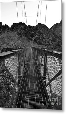 Silver Bridge Over Colorado River At Bottom Of Grand Canyon National Park Black And White Metal Print by Shawn O'Brien