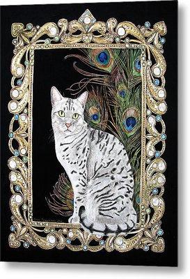 Silver Egyptian Mau Metal Print by Leena Pekkalainen