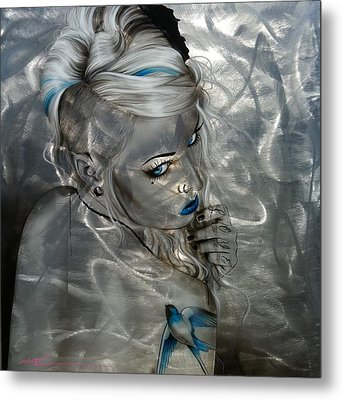 Portrait - ' Silver Flight ' Metal Print by Christian Chapman Art
