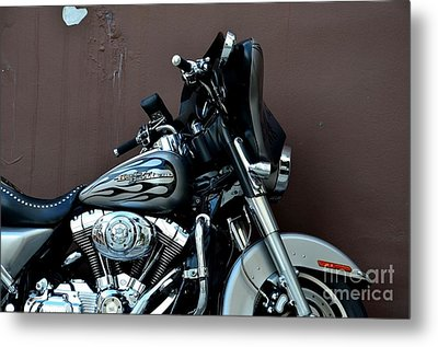 Metal Print featuring the photograph Silver Harley Motorcycle by Imran Ahmed