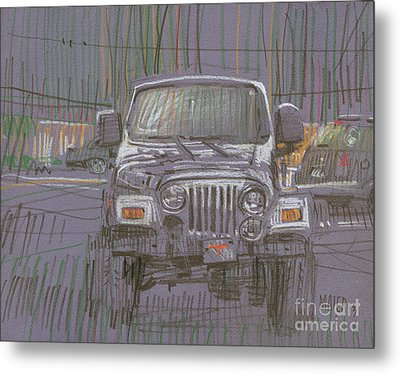 Metal Print featuring the painting Silver Jeep by Donald Maier