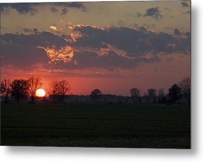 Metal Print featuring the photograph Silver Lining - Red Sunset Art Print by Jane Eleanor Nicholas