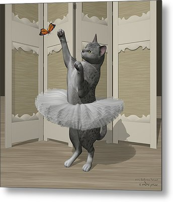 Silver Mau Ballet Cat On Paw-te Metal Print by Andre Price